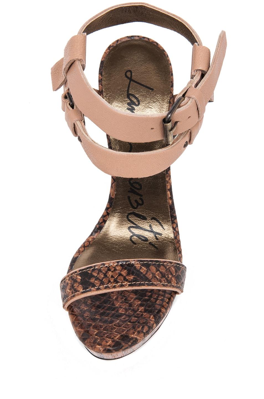 Image 4 of Lanvin Stacked Heel in Camel & Beige