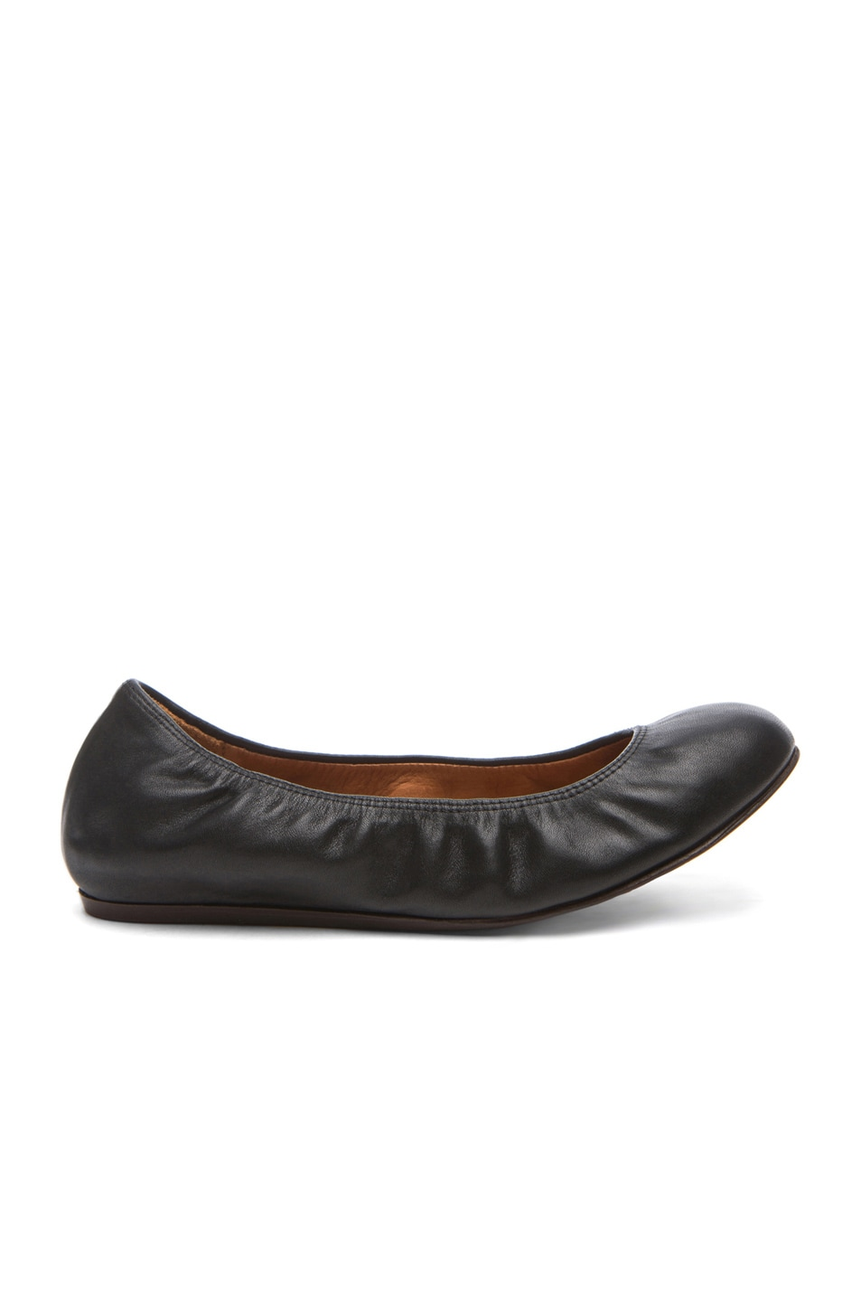 Image 1 of Lanvin Lambskin Leather Ballerina Flats in Noir