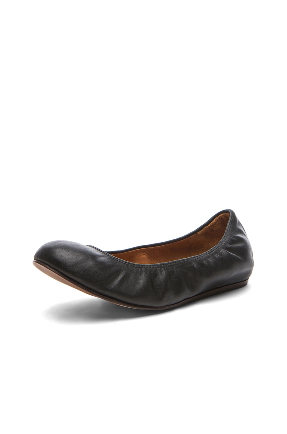 Image 2 of Lanvin Lambskin Leather Ballerina Flats in Noir