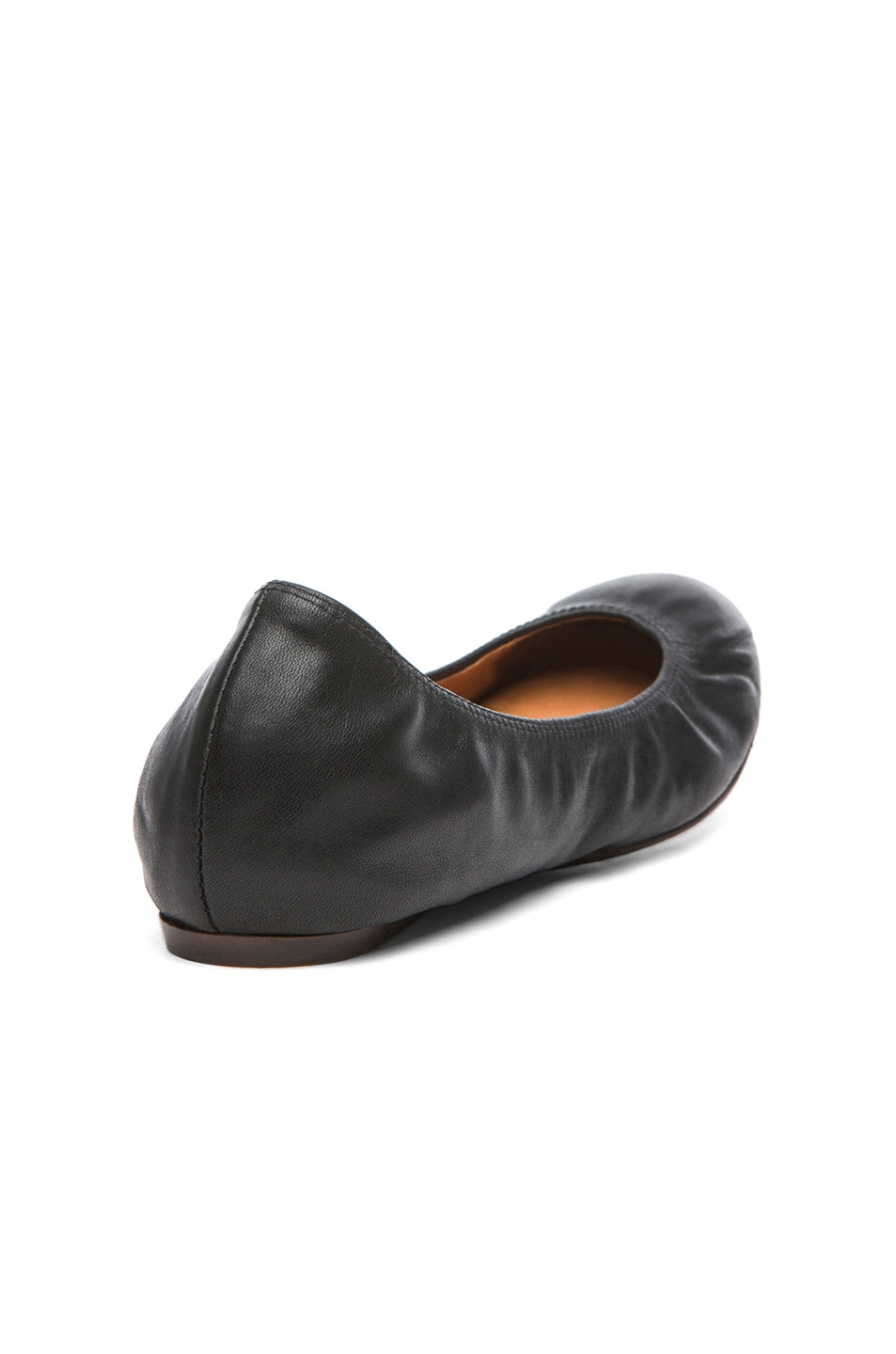 Image 3 of Lanvin Lambskin Leather Ballerina Flats in Noir