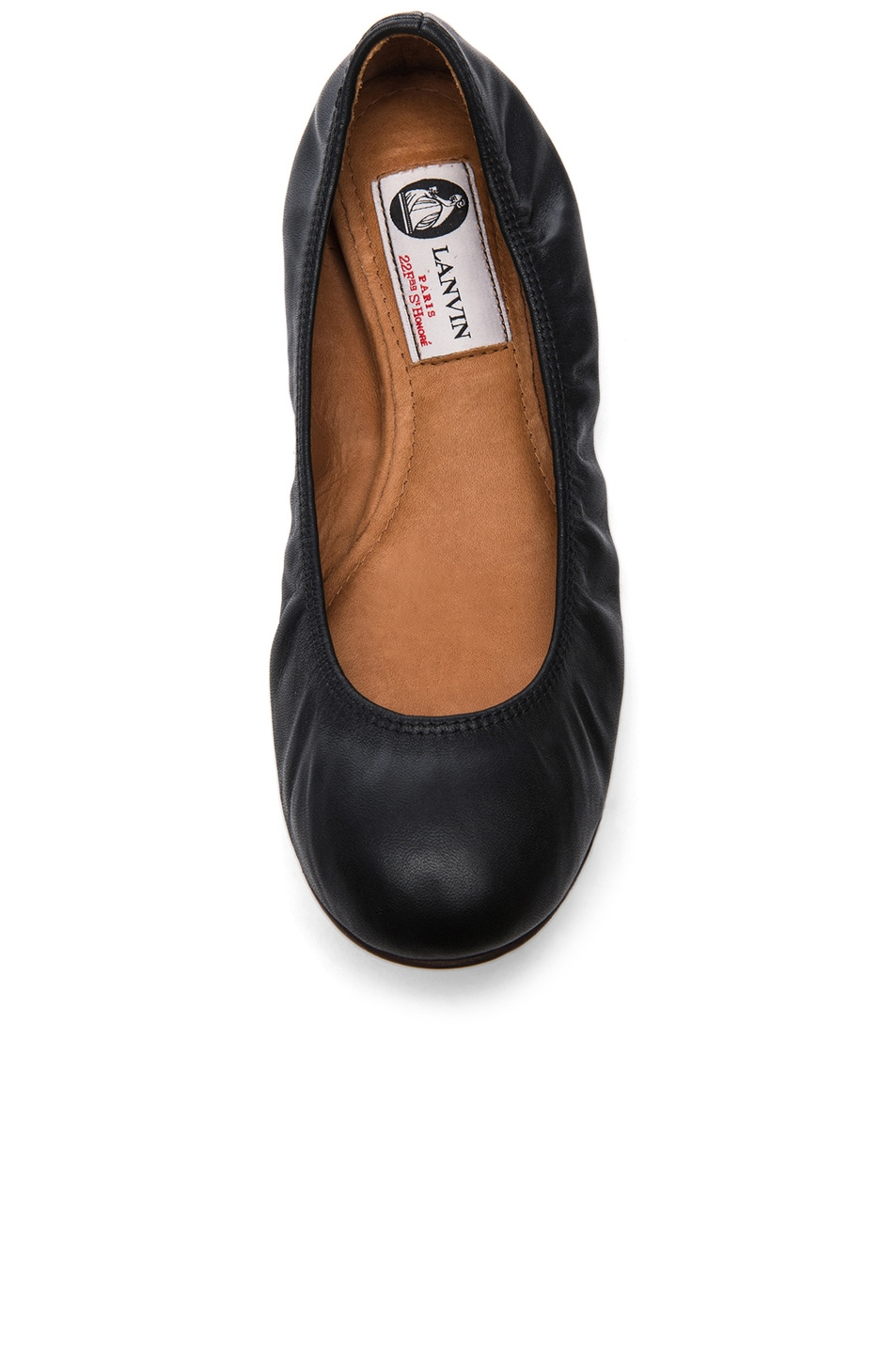 Image 4 of Lanvin Lambskin Leather Ballerina Flats in Noir