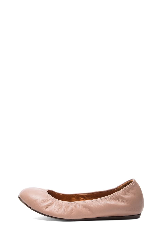 Image 1 of Lanvin Lambskin Leather Ballerina Flats in Nude