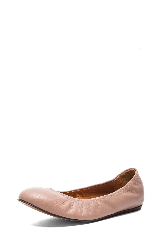 Image 2 of Lanvin Lambskin Leather Ballerina Flats in Nude