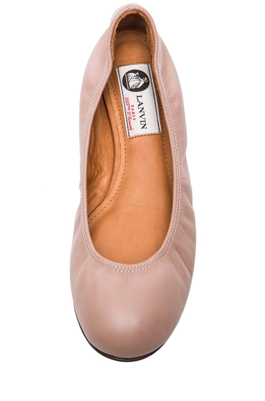 Image 4 of Lanvin Lambskin Leather Ballerina Flats in Nude