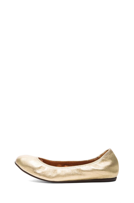Image 1 of Lanvin Metallic Leather Ballerina Flats in Gold