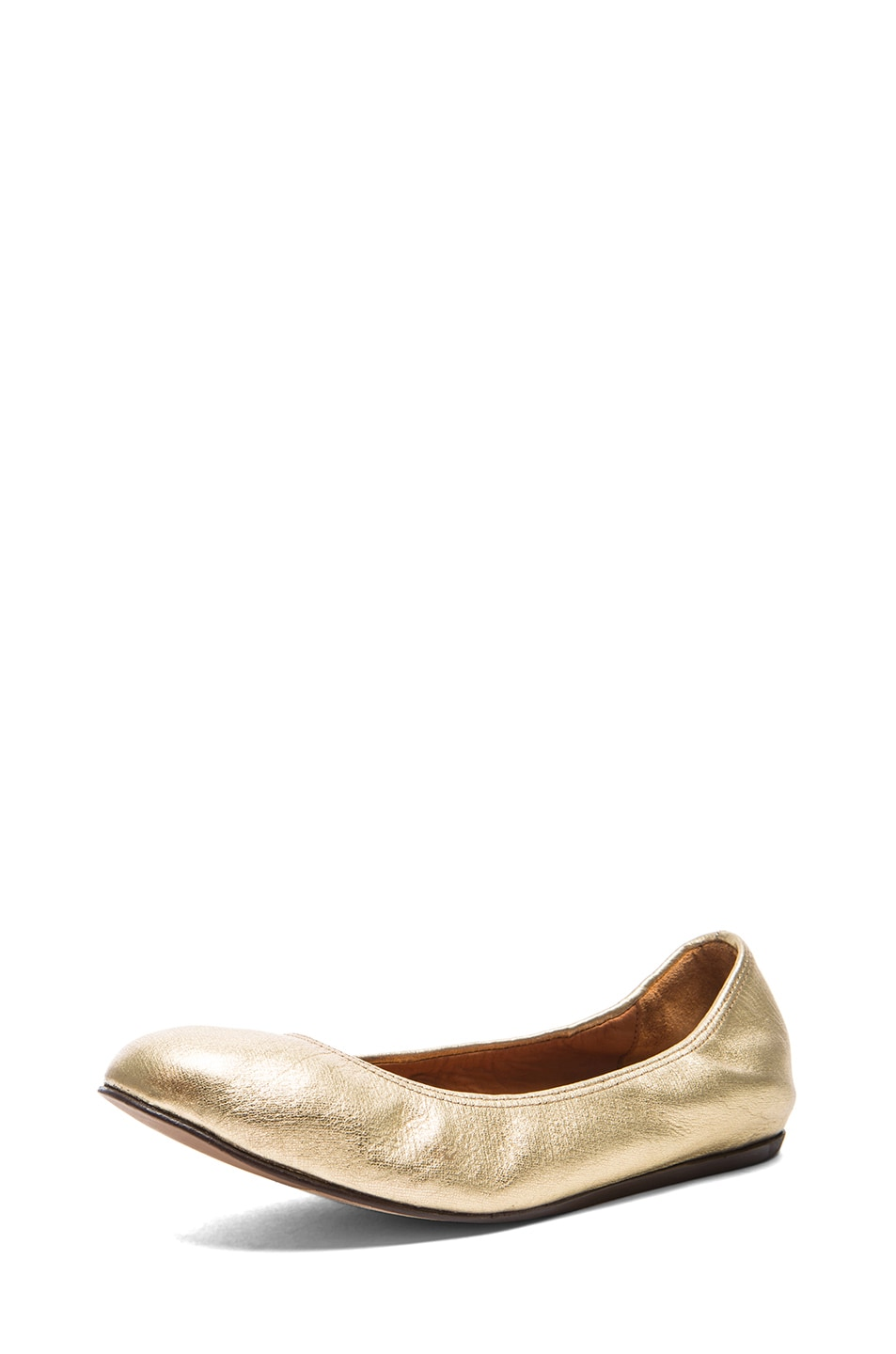 Image 2 of Lanvin Metallic Leather Ballerina Flats in Gold