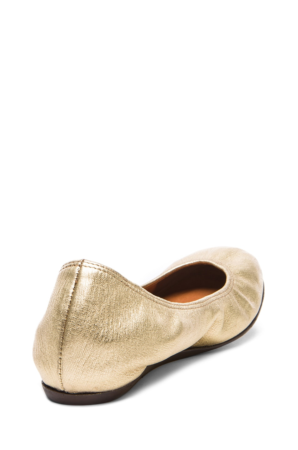 Image 3 of Lanvin Metallic Leather Ballerina Flats in Gold
