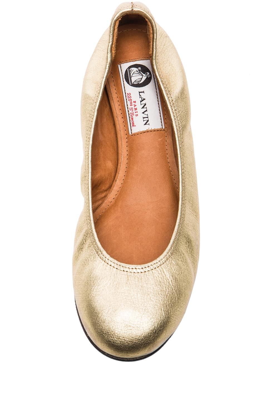 Image 4 of Lanvin Metallic Leather Ballerina Flats in Gold