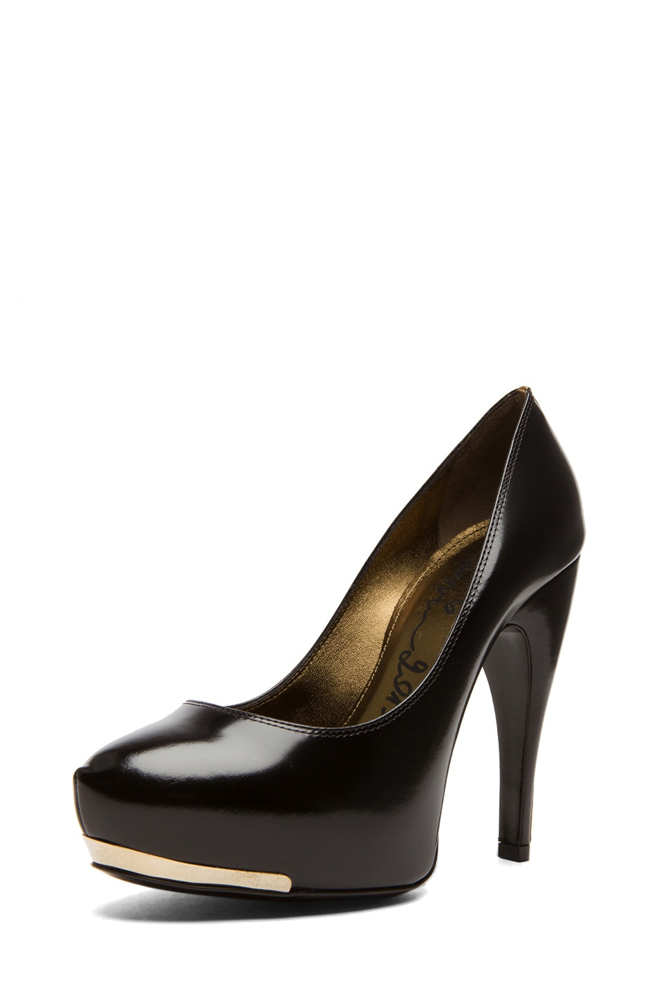 Image 2 of Lanvin Metal Plaque Shiny Calfskin Leather Pumps in Noir