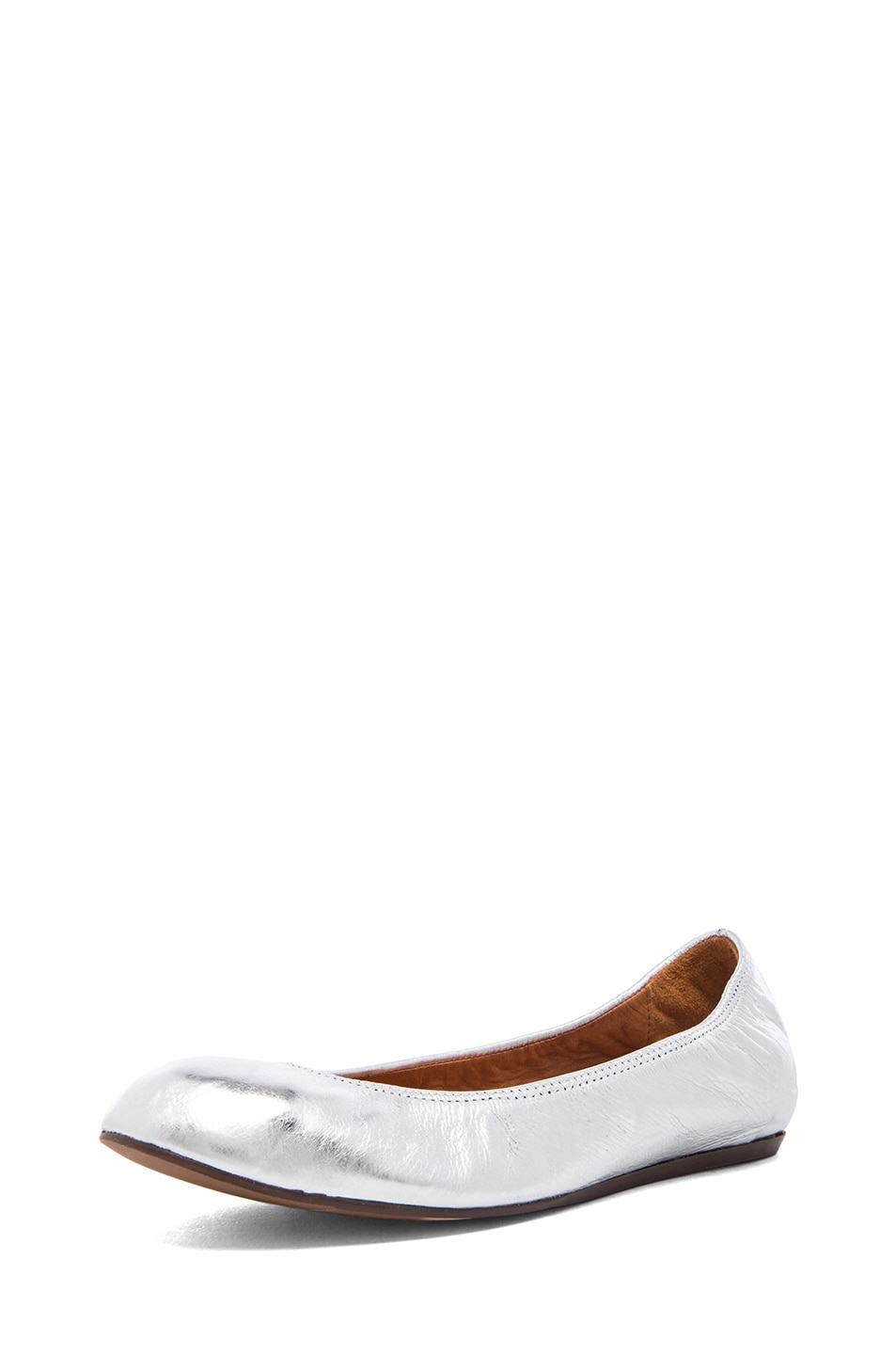 Image 2 of Lanvin Cracked Calfskin Ballerina Flats in Silver