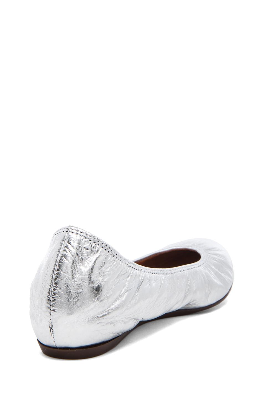 Image 3 of Lanvin Cracked Calfskin Ballerina Flats in Silver