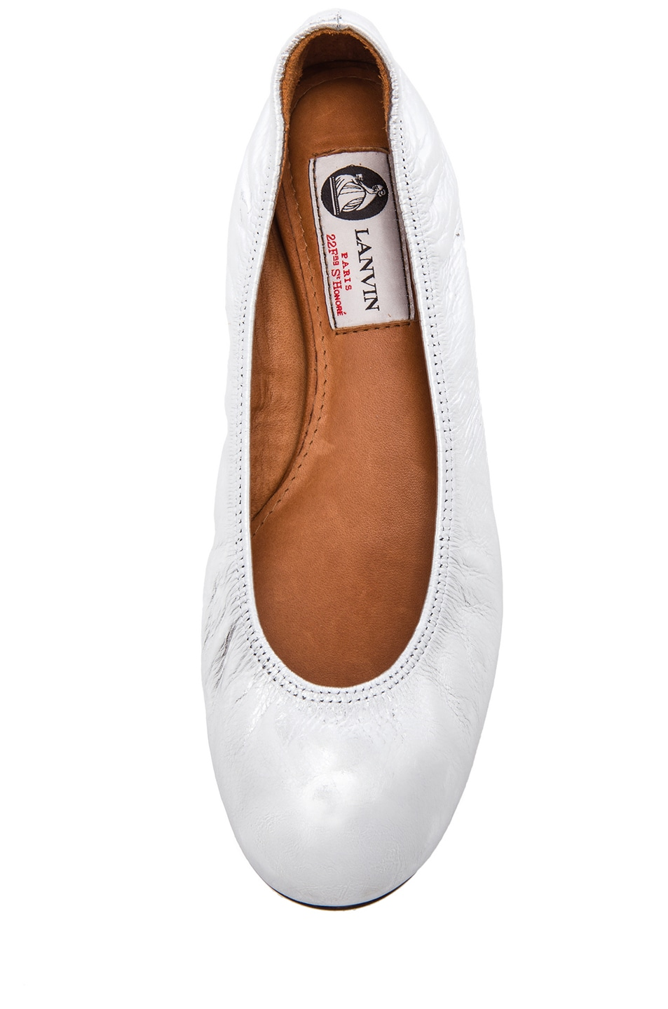 Image 4 of Lanvin Cracked Calfskin Ballerina Flats in Silver