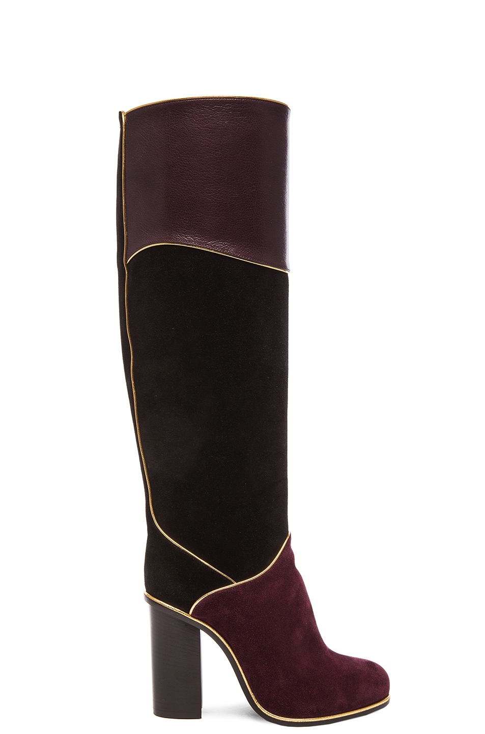 Image 1 of Lanvin Suede Calfskin Piping Boots in Black & Burgundy