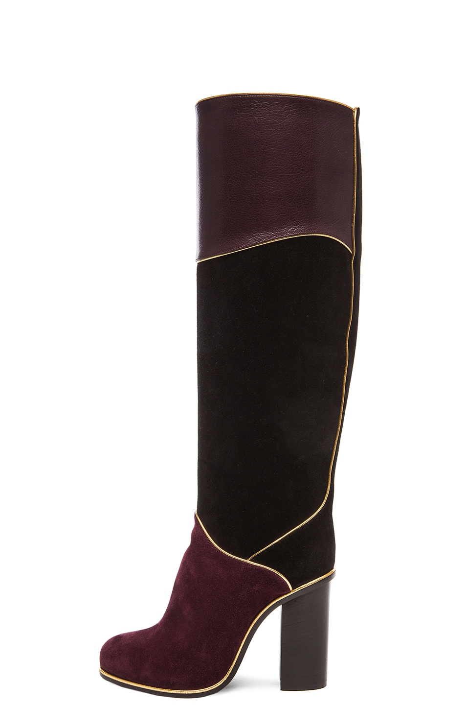 Image 5 of Lanvin Suede Calfskin Piping Boots in Black & Burgundy