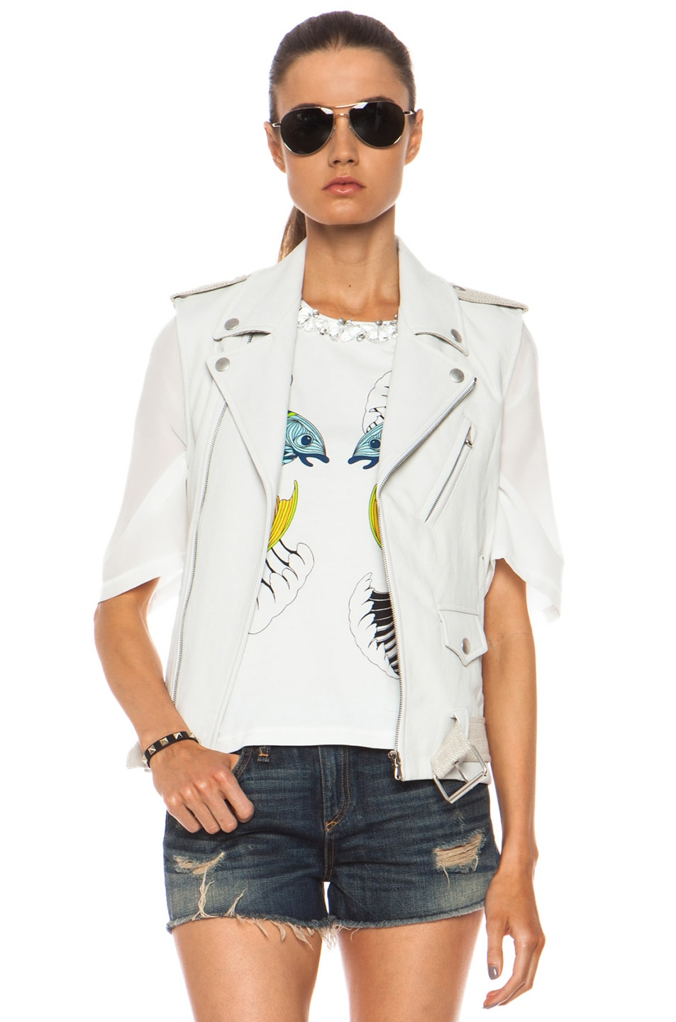Image 1 of Laveer Resilient Glazed Linen-Blend Moto Vest in White