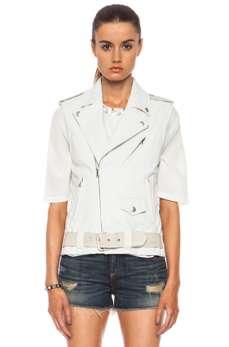 Image 2 of Laveer Resilient Glazed Linen-Blend Moto Vest in White