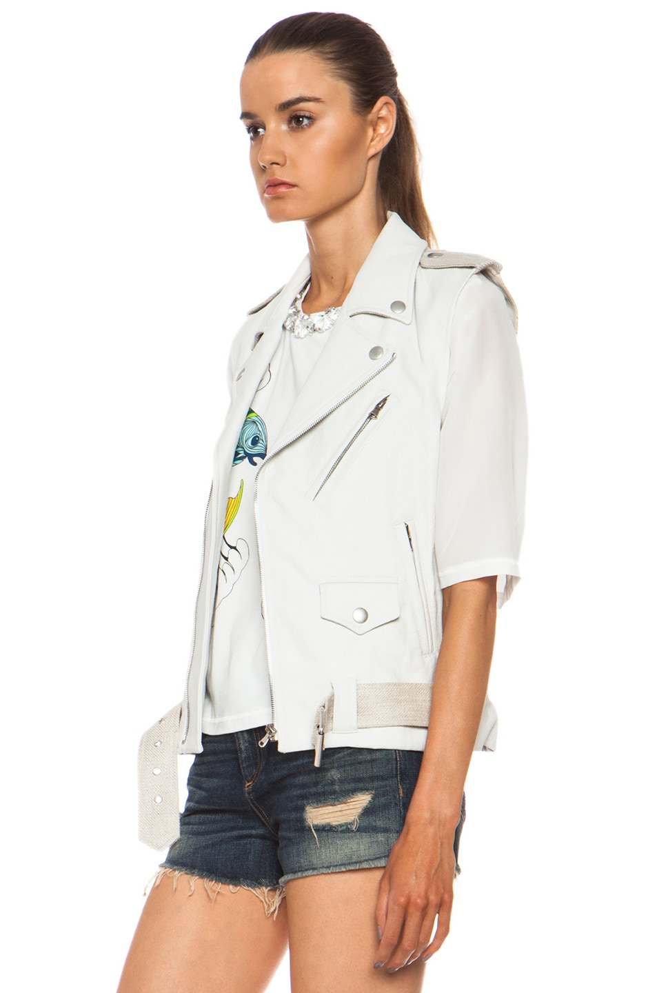 Image 3 of Laveer Resilient Glazed Linen-Blend Moto Vest in White
