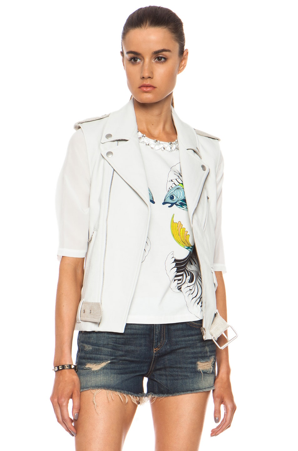 Image 4 of Laveer Resilient Glazed Linen-Blend Moto Vest in White