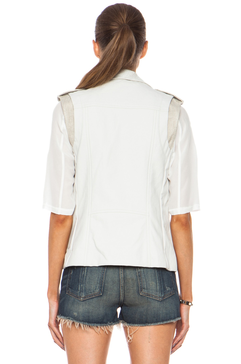 Image 5 of Laveer Resilient Glazed Linen-Blend Moto Vest in White