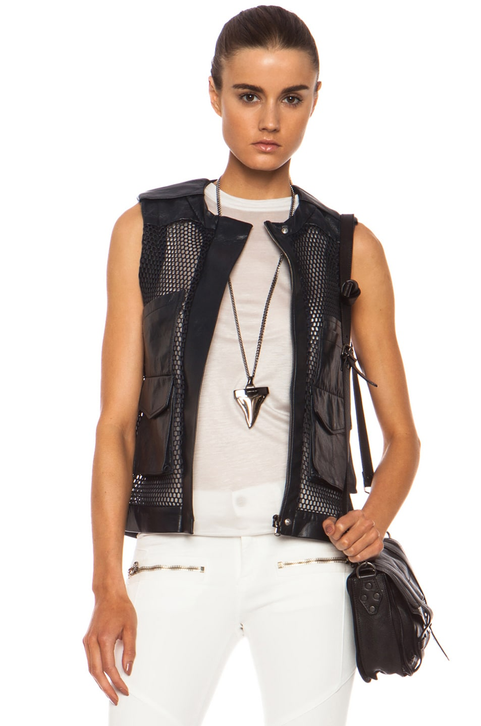 Image 1 of Laveer Utility Leather Vest in Navy