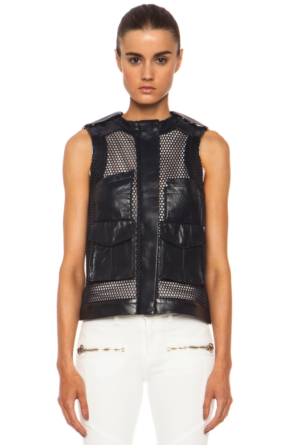 Image 2 of Laveer Utility Leather Vest in Navy