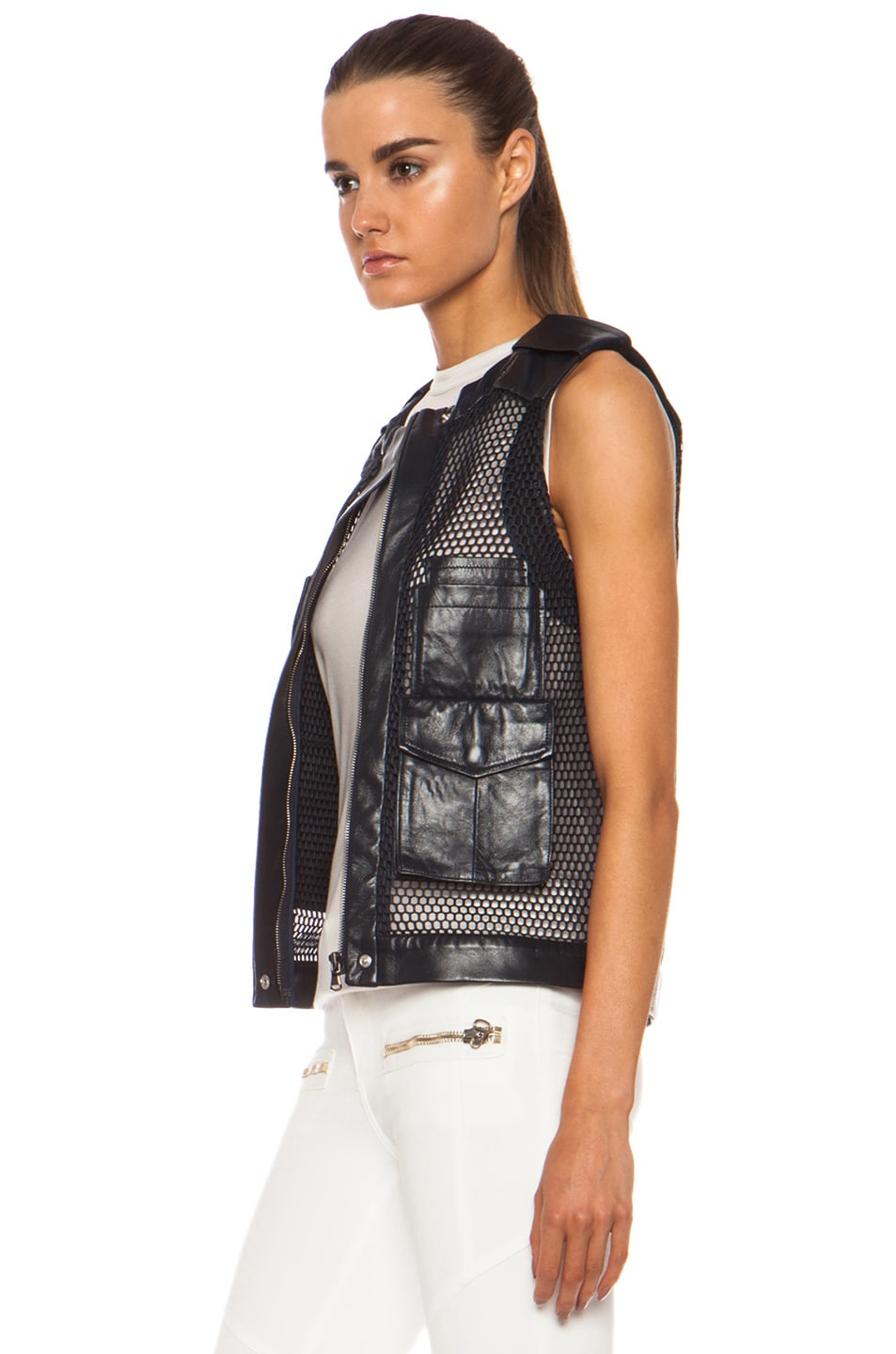 Image 3 of Laveer Utility Leather Vest in Navy
