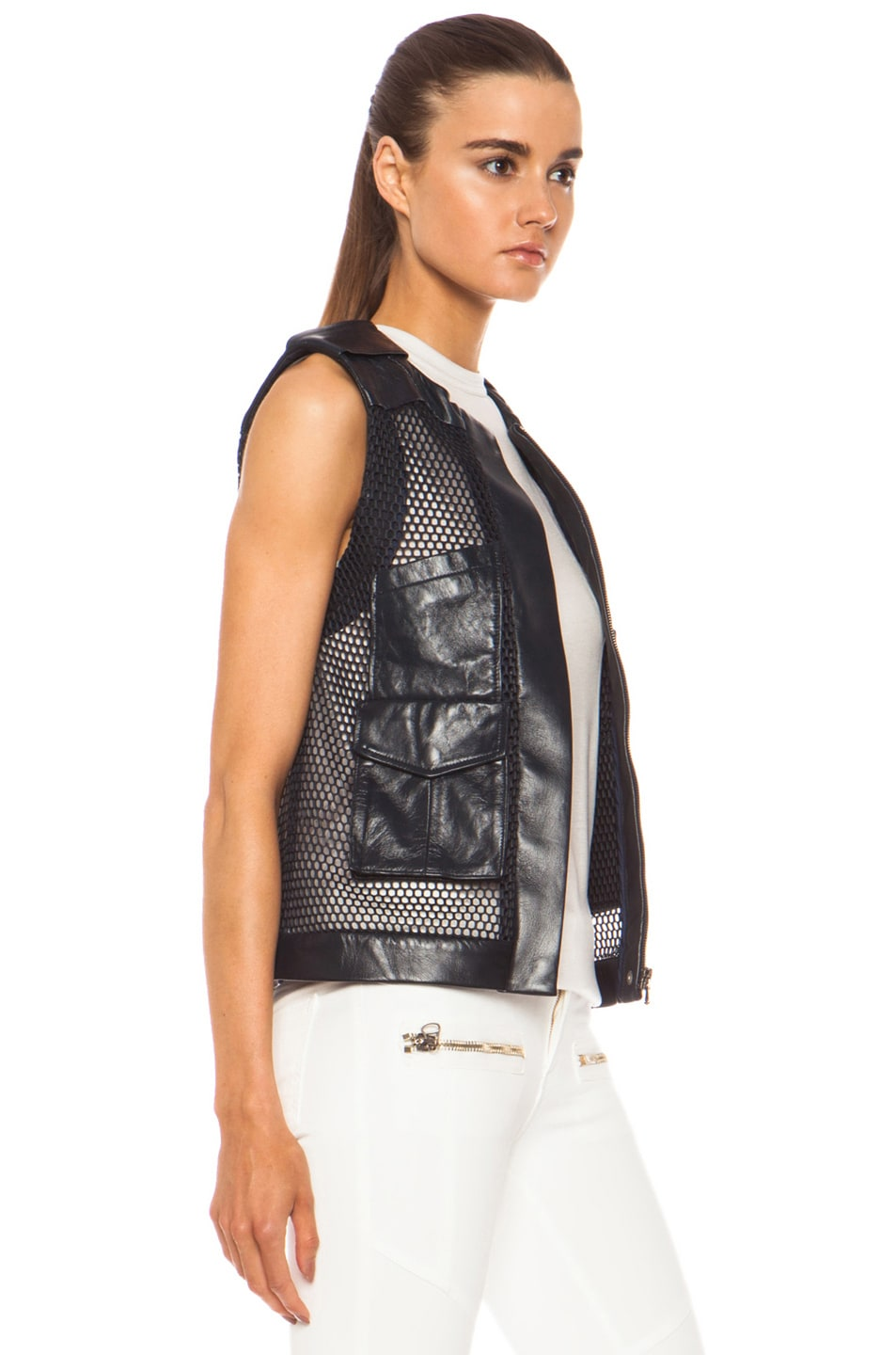Image 4 of Laveer Utility Leather Vest in Navy