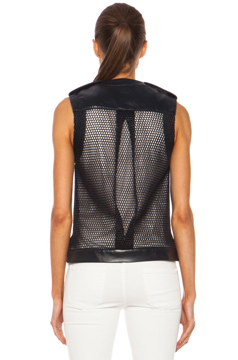 Image 5 of Laveer Utility Leather Vest in Navy
