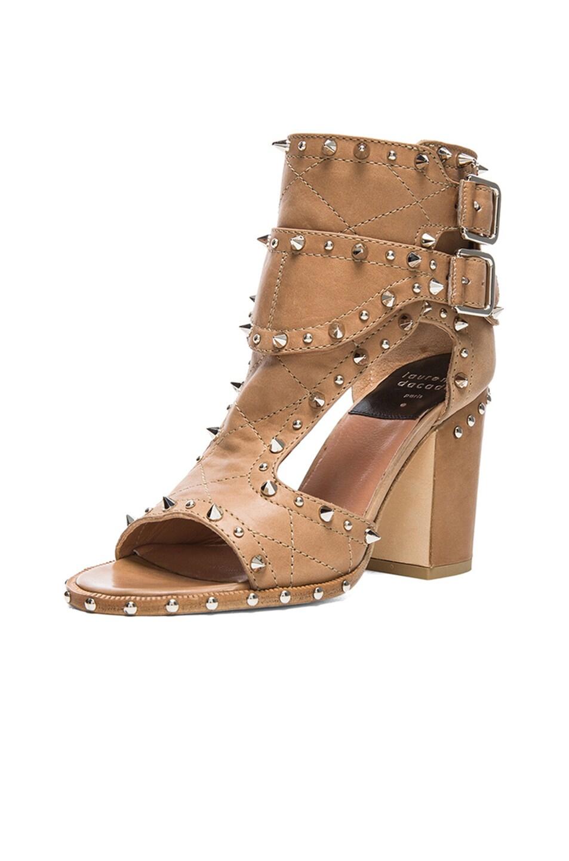 Image 2 of Laurence Dacade Deric Calfskin Leather Heels in Beige & Silver