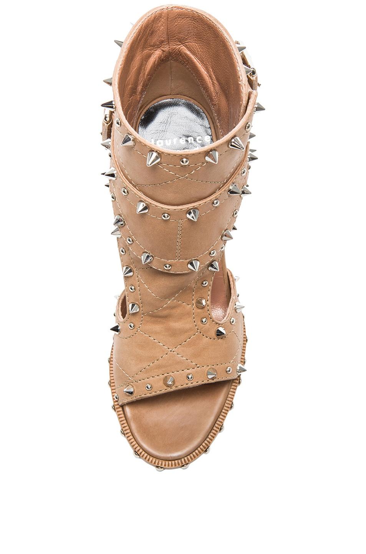 Image 4 of Laurence Dacade Deric Calfskin Leather Heels in Beige & Silver