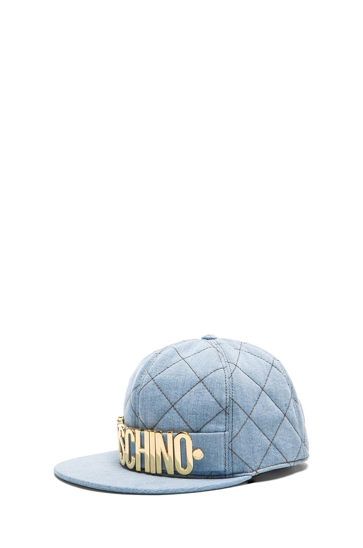 Image 2 of Moschino Denim Logo Hat in Light Blue