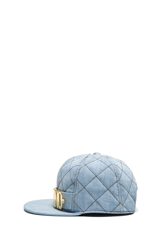 Image 3 of Moschino Denim Logo Hat in Light Blue