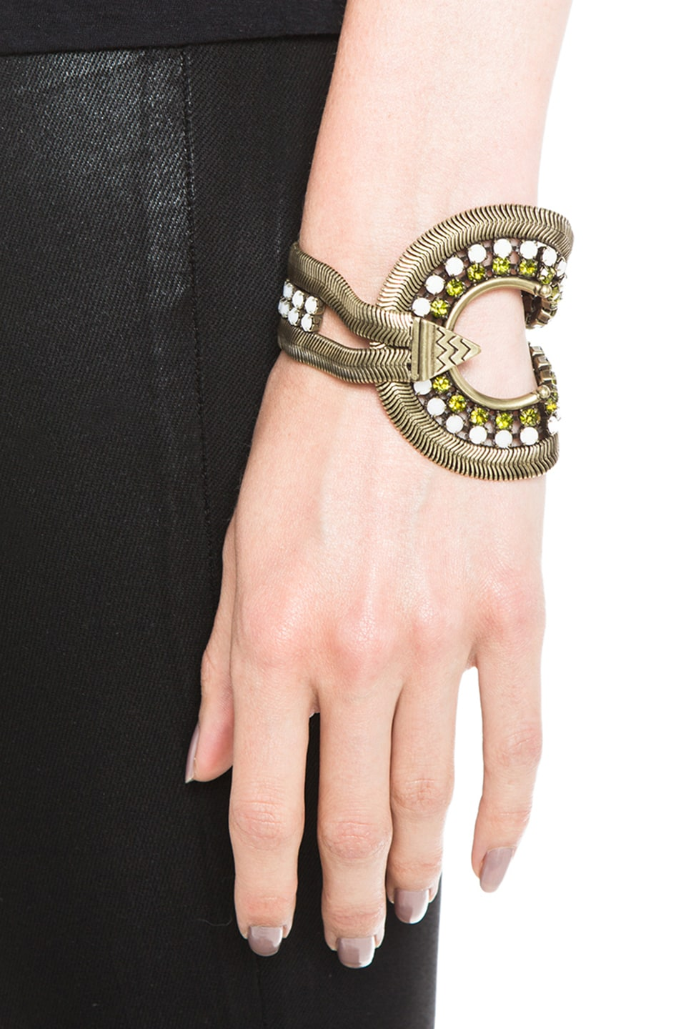 Image 4 of Lionette by Noa Sade Soho Plated Brass Bracelet in Gold, White & Olive