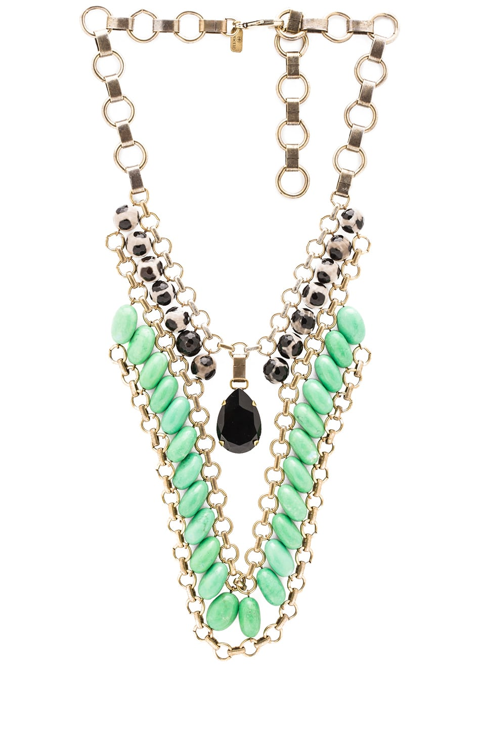 Image 1 of Lionette by Noa Sade Lecretia Antique Plated Necklace in Green