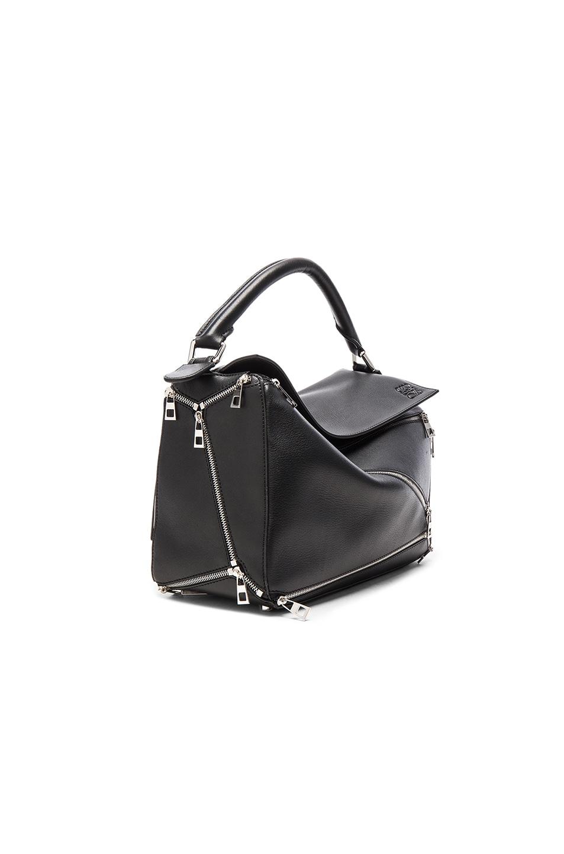 Image 3 of Loewe Puzzle Zips Bag in Black