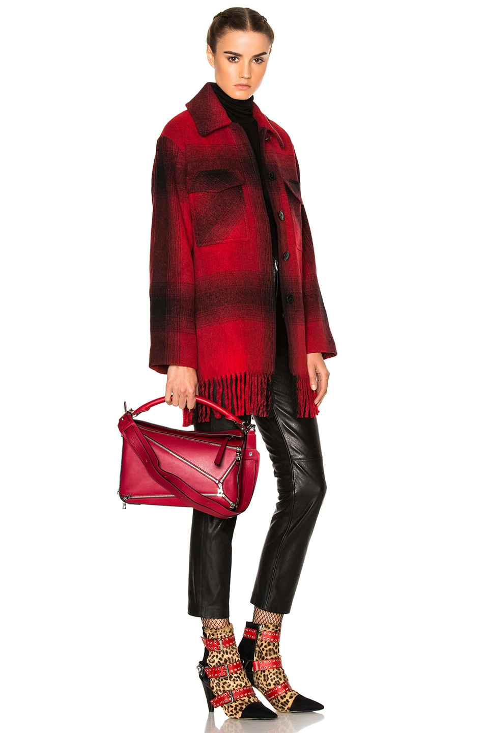 Image 7 of Loewe Puzzle Zips Bag in Rouge