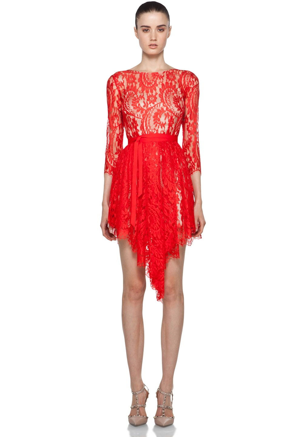 Image 1 of Lover Serpent Lace Dress in Scarlet