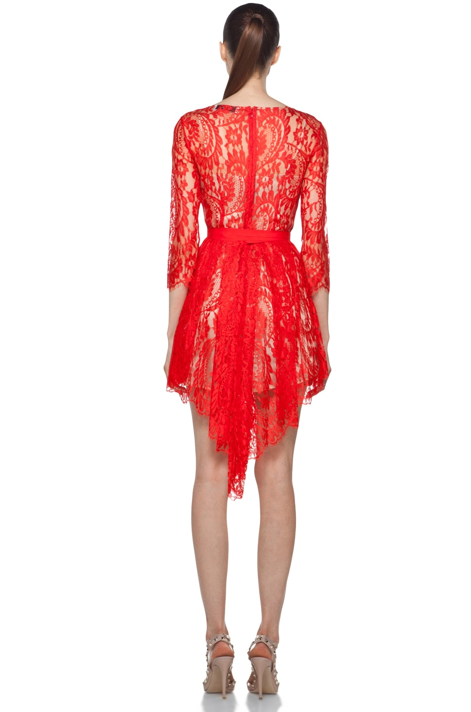 Image 4 of Lover Serpent Lace Dress in Scarlet