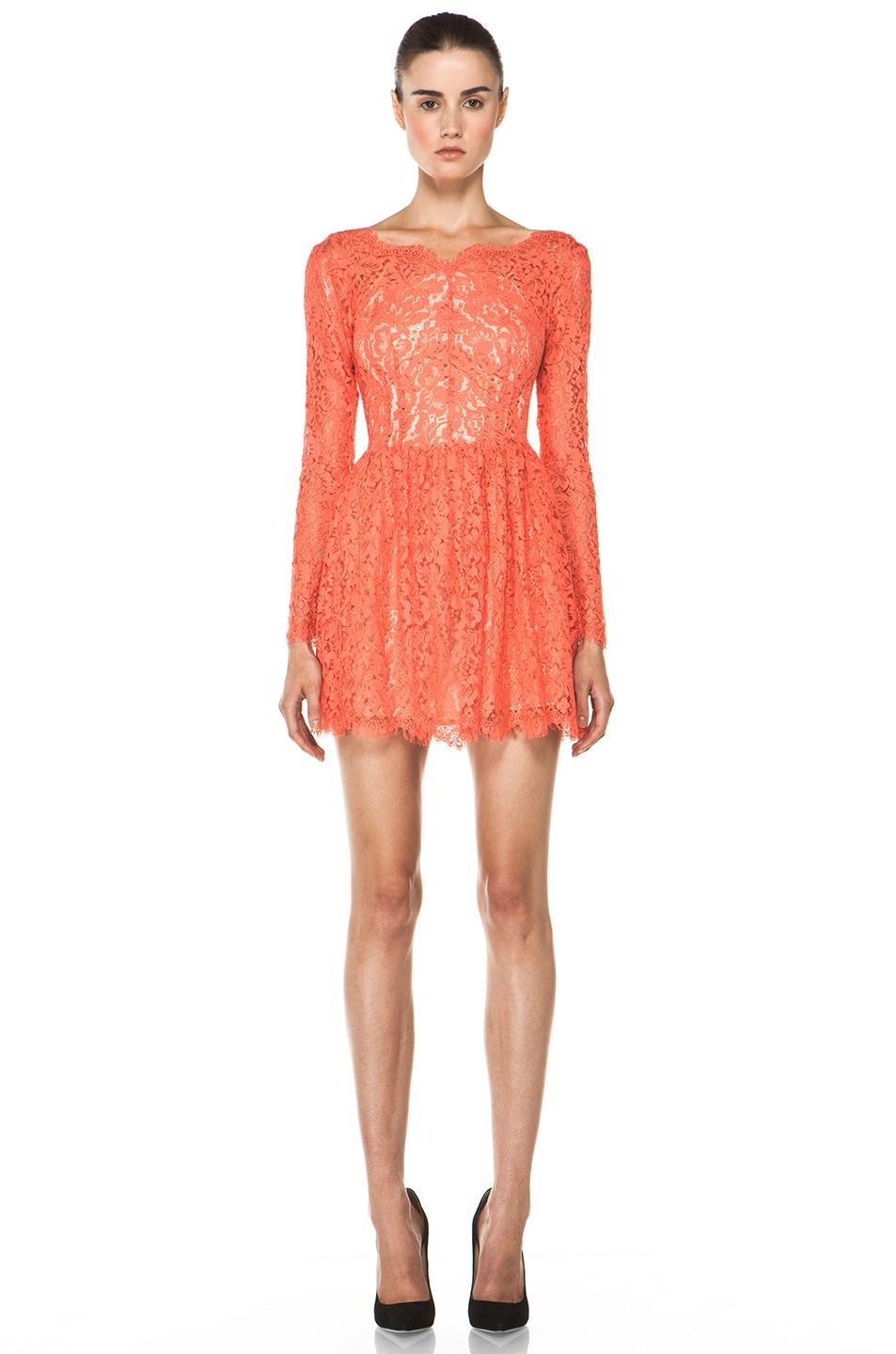 Image 1 of Lover Millie Lace Dress in Flamingo