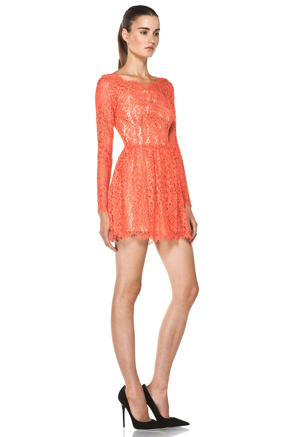Image 3 of Lover Millie Lace Dress in Flamingo