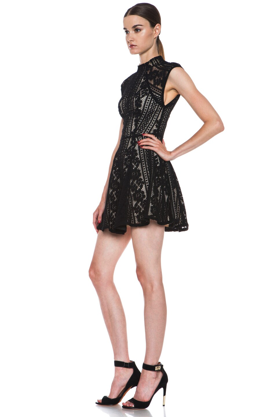 Image 2 of Lover Valentine Lace Knit Mini Dress in Black