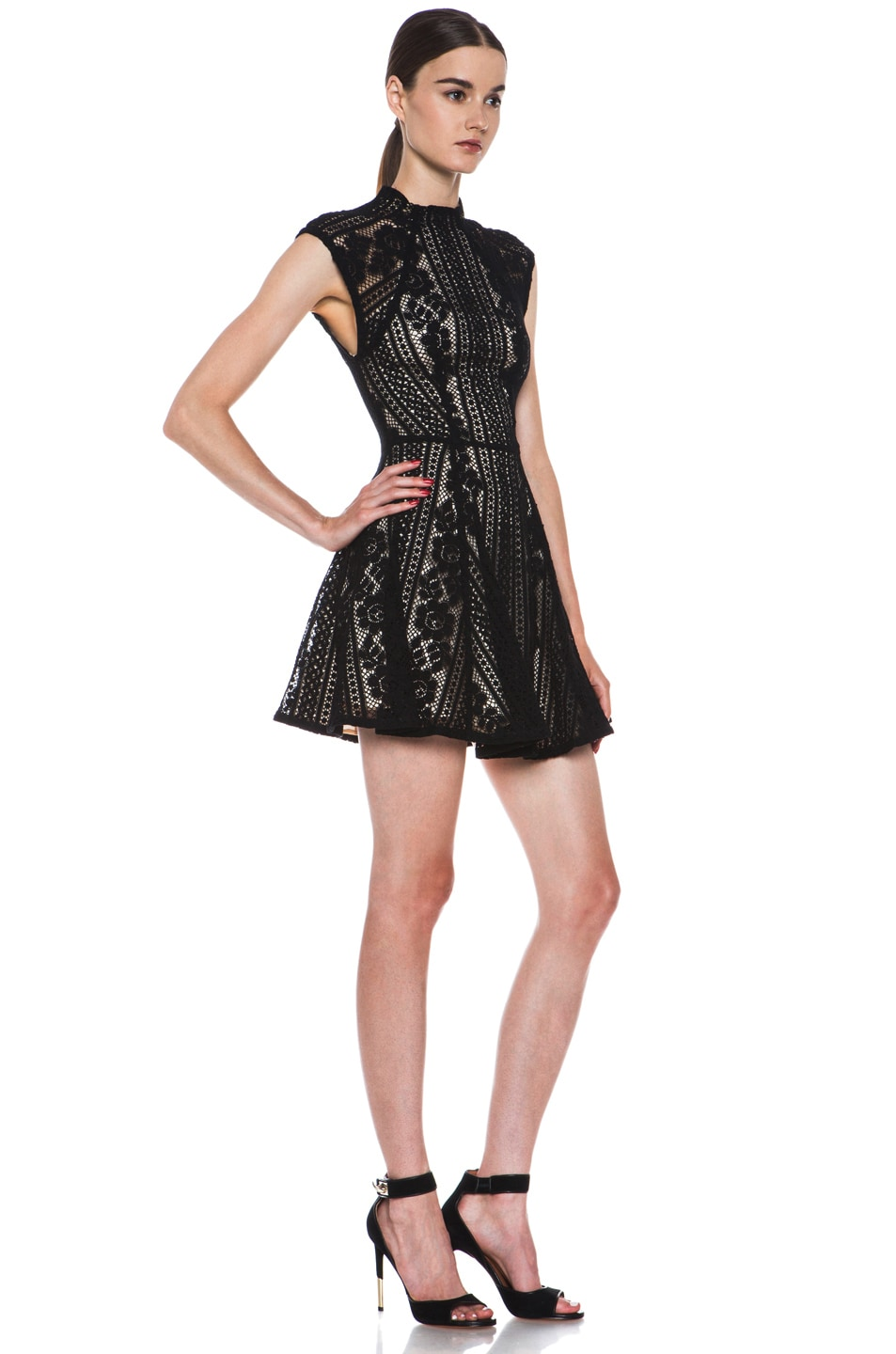 Image 3 of Lover Valentine Lace Knit Mini Dress in Black