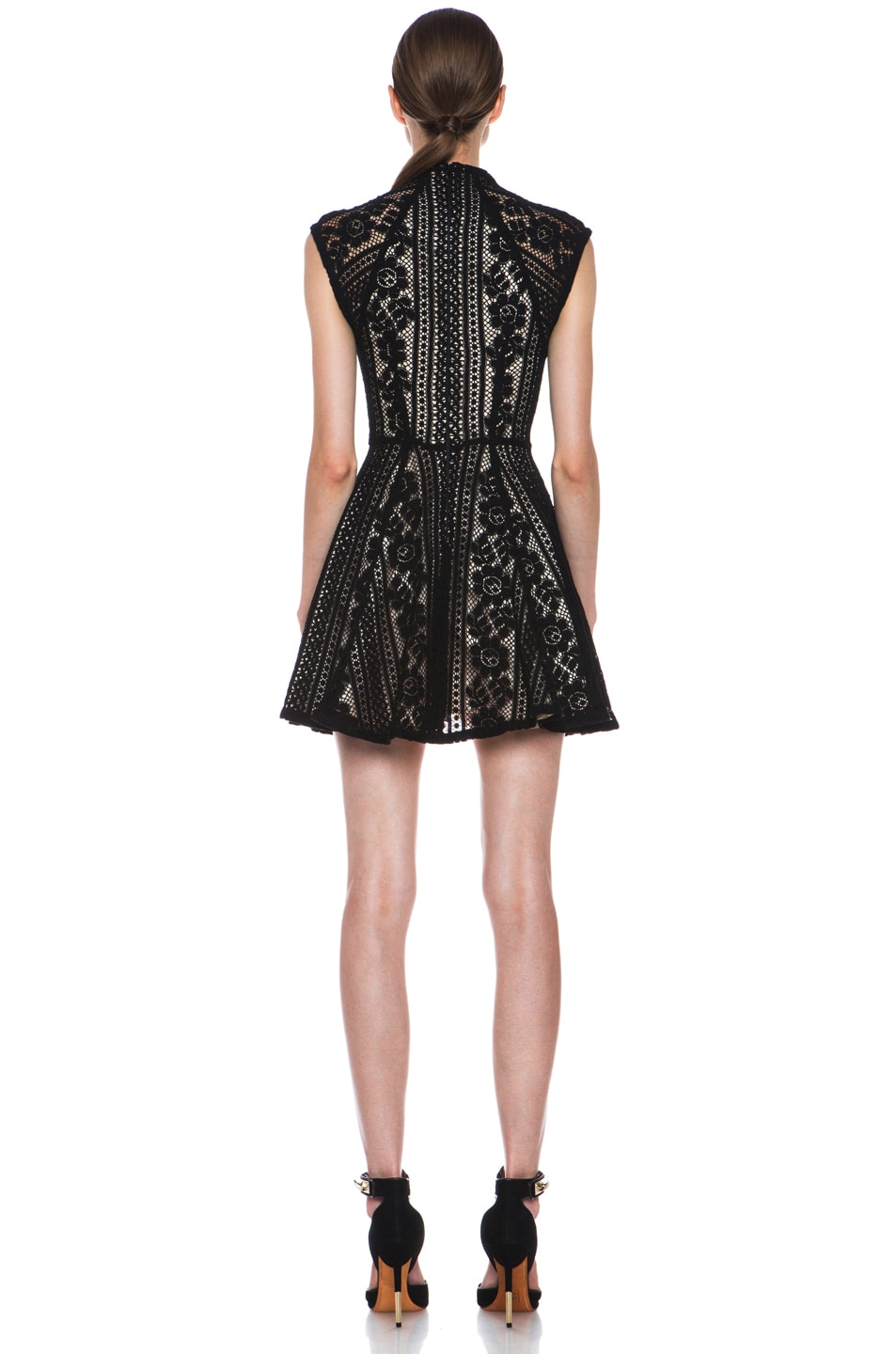 Image 4 of Lover Valentine Lace Knit Mini Dress in Black