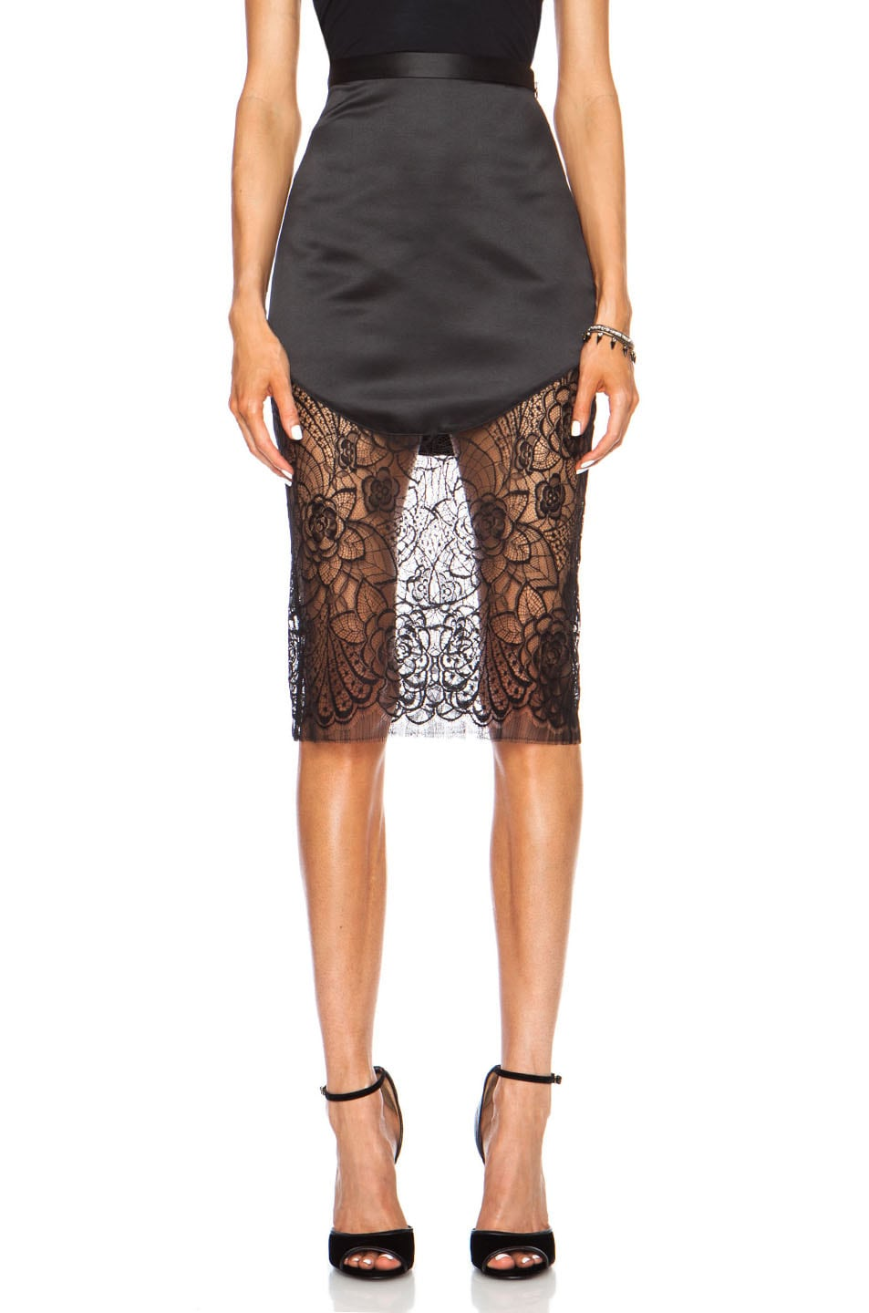 Image 1 of Lover Lotus Pencil Poly Skirt in Black