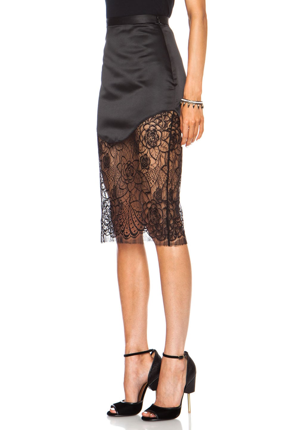 Image 2 of Lover Lotus Pencil Poly Skirt in Black