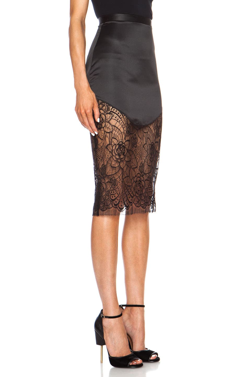 Image 3 of Lover Lotus Pencil Poly Skirt in Black