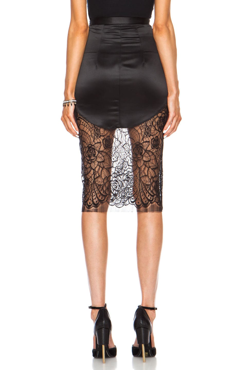 Image 4 of Lover Lotus Pencil Poly Skirt in Black