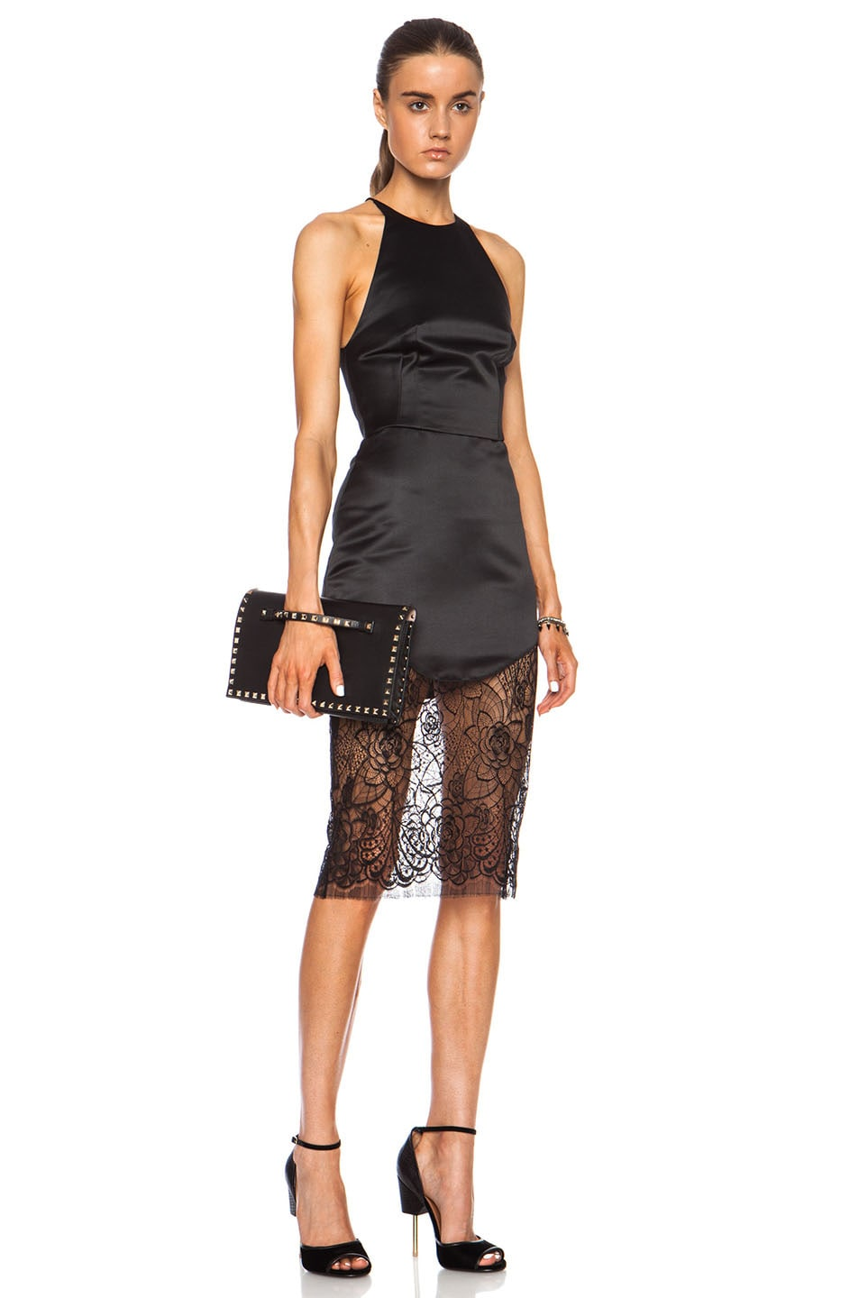 Image 5 of Lover Lotus Pencil Poly Skirt in Black