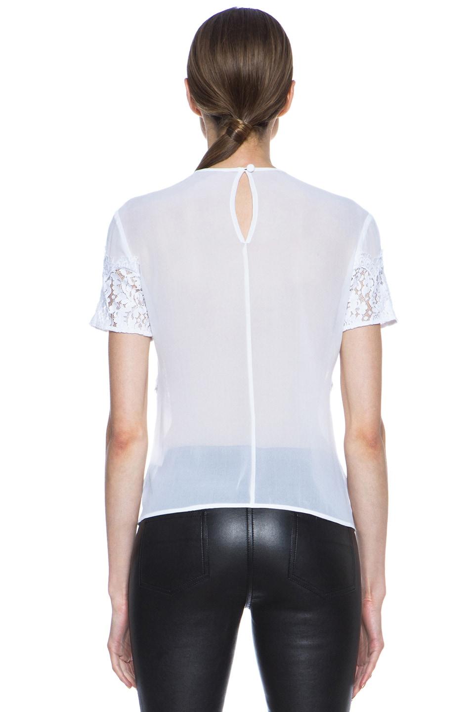 Image 4 of Lover V Bodice Silk Blouse in White