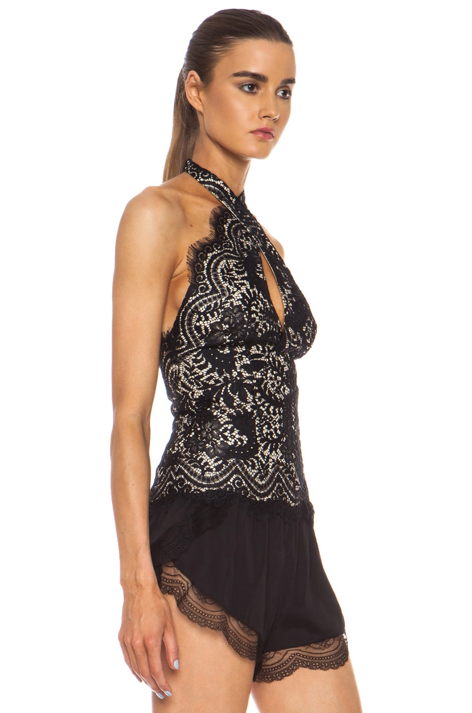 Image 3 of Lover Mia Lace Knit Twist Top in Black